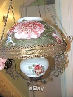 ANTIQUE VICTORIAN Ceiling LIGHT HAND PAINTED FLOWERS Roses OIL LAMP 14 Shade