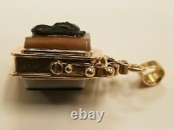 ANTIQUE VICTORIAN SOLID 14k ROSE GOLD PICTURE LOCKET PENDANT CHARM FOB
