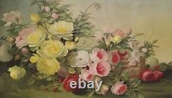 Amazing Antique 1895 Floral Still life Roses Oil On Canvas Painting Signed