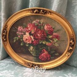Amazing FRENCH OIL PAINTING Opulent Pink Roses in Oval Gilt GESSO Barbola FRAME