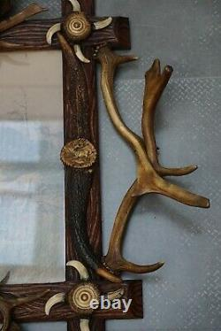 Ant. Black Forest Picture Frame Mounted W. Antlers& Roses&teeth& Horns
