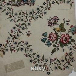 Antique 1700s French HandPainted Water Color Fabric/Textile DesignRoses&Baskets