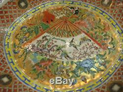 Antique 1800's Chinese Rose Medallion Hand Painted Platter
