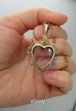 Antique 1880 Turquoise Natural Seed Pearls 9ct Rose Gold Heart Picture Locket
