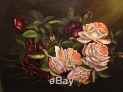 Antique 1880s Victorian Oil Painting On Canvas Floral Red Pink Roses Still Life