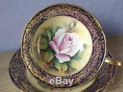 Antique 1940's Paragon hand painted pink rose blue gold china tea cup teacup