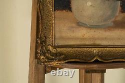 Antique 19th Century 1800s Oil Painting On Wood Still Life Roses Art Old Framed