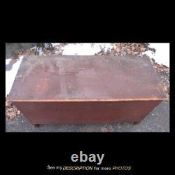 Antique AAFA 6 Board Blanket Box / Chest Old Red Paint Rose Head Nails Boot Jack