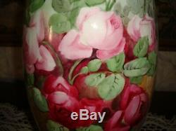 Antique American Belleek Willets Vase, Hand Painted Roses, Large 15