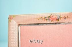 Antique American THOMAE Pink Roses Enamel Sterling Silver Photo Picture Frame