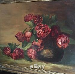 Antique Art Deco Still Life Oil Painting Moody Red Roses 1920 Floral Shabby Chic