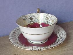 Antique Aynsley JA Bailey hand painted pink rose red bone china tea cup teacup
