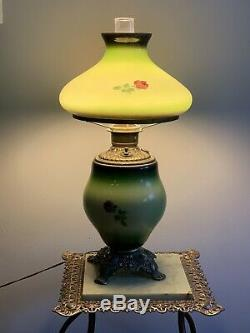 Antique Banquet Lamp Hand Painted Roses GWTW Gone with the Wind Glass Lamp
