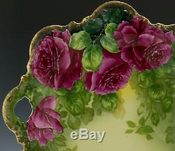 Antique Bavaria Hand Painted Roses Cake Plate