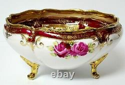 Antique Beautiful Hand Painted Nippon Three Toed Red Rose & Gold 8 Bowl