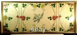 Antique Belle Epoque Painted Fabric Tapestry Thorny Roses & Doves Framed