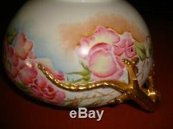 Antique Belleek Willets Dragon Handles Bowl, Jardiniere, Hand Painted Roses, 9