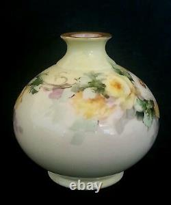 Antique Belleek Willets hand painted vase Yellow & White Roses, circa 1900