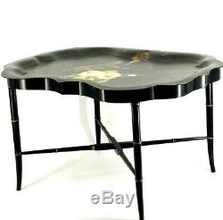 Antique Black Toleware Butlers Table Hand-painted White Roses Bird Tea Tray 30