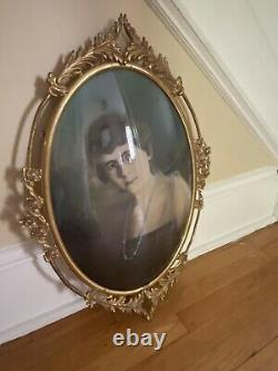 Antique Bubble Glass Picture Frame Convex Gold Metal Oval Roses 25.25 x 18