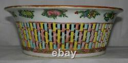 Antique CHINESE Export ROSE MEDALLION Reticulated HAND PAINTED FRUIT BASKET Bowl