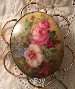 Antique Cameo Hand Painted 10 k Gold Porcelain Floral Brooch Rose Lily Peony Pin