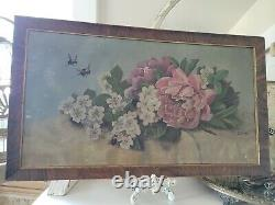 Antique Canvas Oil Painting Pink Peonies & Apple Blossoms Bees Signed Not Roses