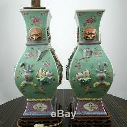 Antique Chinese Export Famille Rose Porcelain Lamps Embossed Hand Painted Pair
