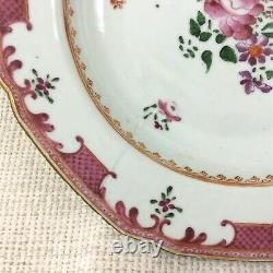 Antique Chinese Export Porcelain Bowl Hand Painted Famille Rose Staple Repair