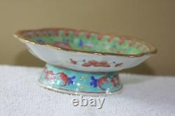 Antique Chinese Famile Rose Stemmed Bowl with mark scalloped edge hand-painted