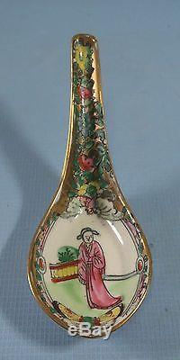 Antique Chinese Famille Rose porcelain spoon hand painted circa Qing Period rr