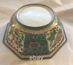 Antique Chinese Hand Painted Canton Famille Rose Enamel Octagon Brass Bowl Qing