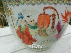 Antique Chinese Hand Painted Famille Rose Plant Pot Red Dragon Lanterns Figures