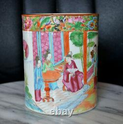 Antique Chinese Hand Painted Rose Medallion Cylindrical Vase/Pot c. Mid 19th cent