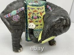 Antique Chinese Hand-painted Porcelain Famille Rose Elephant Candle Holder