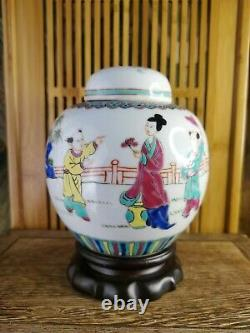 Antique Chinese Hand-painting Famille Rose Ginger Jars(One Pair)
