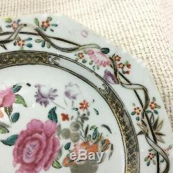 Antique Chinese Porcelain Plates Hand Painted Famile Rose Jiaqing Export China