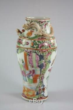 Antique Chinese Qing Export Ware Famille Rose Hand Painted Vase