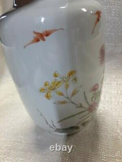 Antique Chinese Rose Famille Export Hand Painted Vase