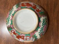 Antique Chinese Rose Medallion Punch Bowl 10 Hand Painted Multi Colored! Beauty