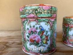 Antique Chinese Rose Medallion porcelain hand painted canister jars w lids
