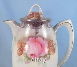 Antique Chocolate Pot ES Prussia Hand Painted Pink Roses Porcelain Germany