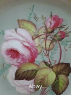 Antique Coalport Plate with Pink Rose c1840 Hand Painted English Porcelain