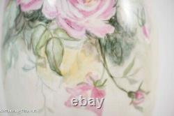 Antique D & C Delinieres & Cie Limoges France Hand Painted Vase 11.5'' Red Roses