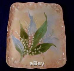 Antique D&C Limoges Hand Painted LILY OF THE VALLEY Wall Plaque Artist Signed