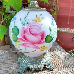 Antique Double Globe Gone With The Wind Hurricane Lamp Painted Roses 22.5 USA