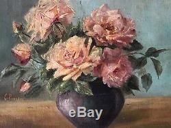 Antique E. Behrens Roses in Vase Original Oil Painting Shabby Cottage Framed