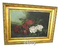 Antique Early 1900's Oil Painting Red & White Roses Gold Gilt Frame