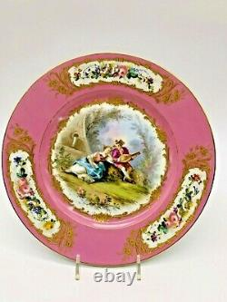 Antique Early Sevres Four Hand Painted Rose/Pink 1750's Lovers Cabinet Plates