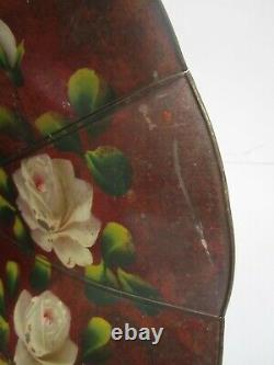 Antique Edison Tea Tray Phonograph Horn Part Only Painted Floral Roses Metal